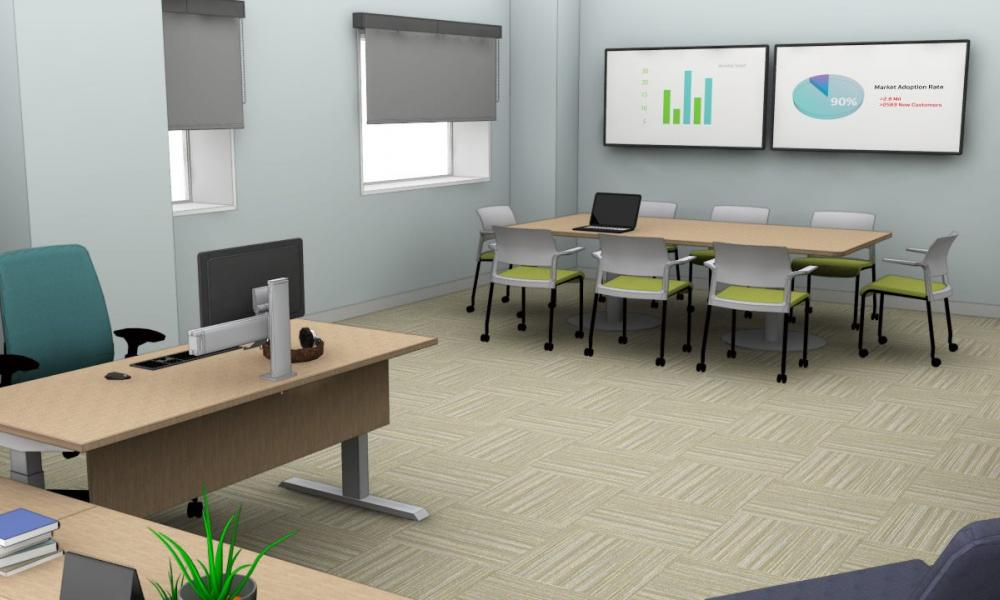 Office space rendering.