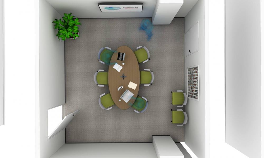 Ariel view of office space.